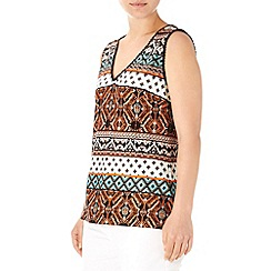 Wallis - Orange print crochet vest top