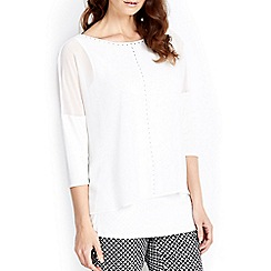 Wallis - Ivory embellished overlay top