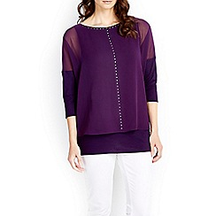 Wallis - Purple embellished overlay top