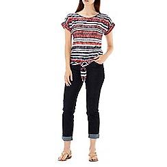 Wallis - Navy & red stripe tie front top