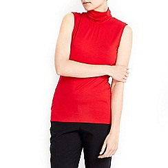 Wallis - Red sleeveless polo neck top
