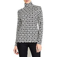 Wallis - Cream printed polo neck top