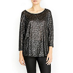 Wallis - Black and silver glitter top