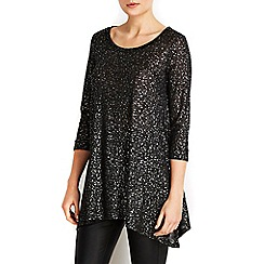 Wallis - Balck metallic hem top