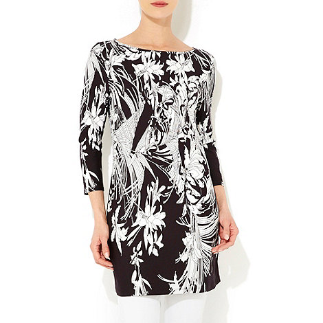 Wallis - Black and white floral tunic
