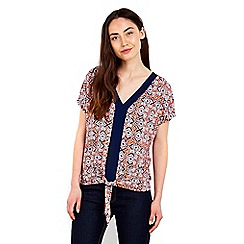 Wallis - Printed tie front top