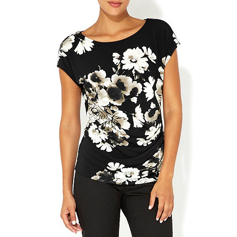 Wallis - Black floral zip detail top