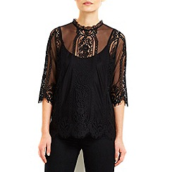 Wallis - Black high neck lace shell top