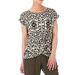 Wallis - Khaki printed twist front top