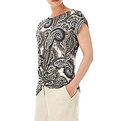 Wallis - Stone paisley twist front top