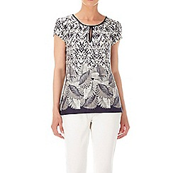 Wallis - Navy leaf print shell top