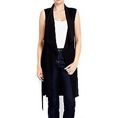 Wallis - Black sleeveless belted cardigan