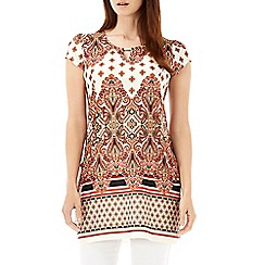 Wallis - Orange paisley printed tunic  top
