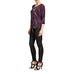 Wallis - Purple printed tie front top