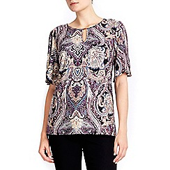 Wallis - Stone & purple paisley print top