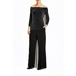 Wallis - Black sparkle bardot top