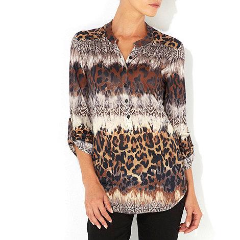 Wallis - Brown animal print shirt