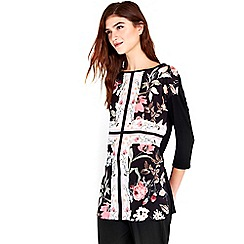 Wallis - Black cross floral woven front tunic top
