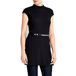 Wallis - Black ribbed belted tunic