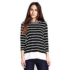 Wallis - Navy and ivory striped top
