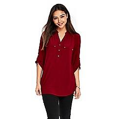Wallis - Red plain zip shirt