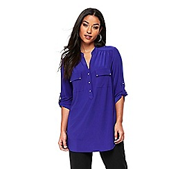 Wallis - Blue plain zip shirt