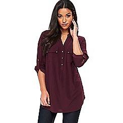 Wallis - Berry longline button shirt