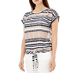 Wallis - Navy stripe tie front top