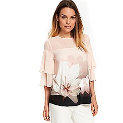 Wallis - Pink floral print sheer frill top