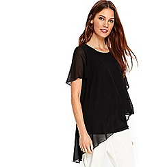 Wallis - Black sheer overlayer top