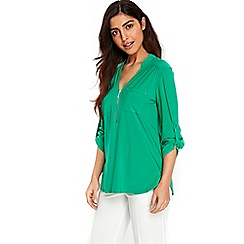 Wallis - Green zip front shirt