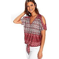 Wallis - Pink paisley print tie front top