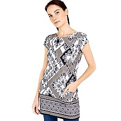 Wallis - Grey printed longline tunic top