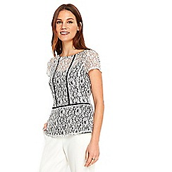 Wallis - White and navy lace top