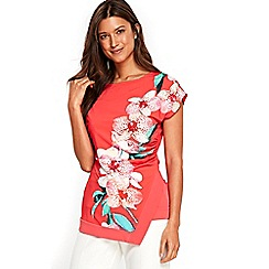 Wallis - Coral orchid printed top