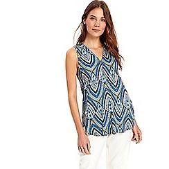 Wallis - Blue v-neck sleeveless shirt