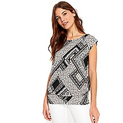Wallis - Patchwork print tie side top