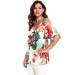 Wallis - Tropical v neck tie sleeves top