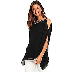 Wallis - Black embellished neck overlay top
