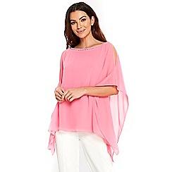 Wallis - Pink sparkle neck overlayer top