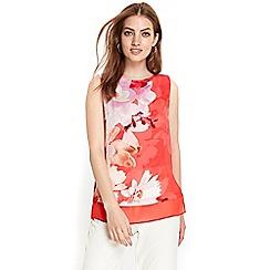 Wallis - Coral floral layered top