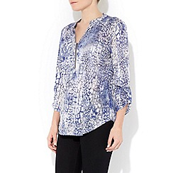 Wallis - Blue animal zip front shirt