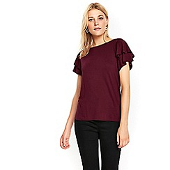 Wallis - Berry red layered sleeves top