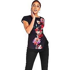 Wallis - Black oriental floral top