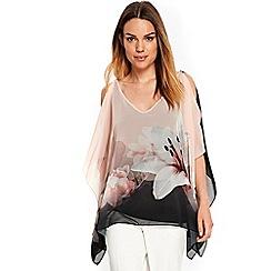 Wallis - Black floral printed overlayer top