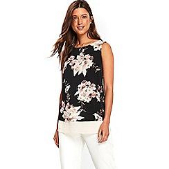 Wallis - Black floral double layer top