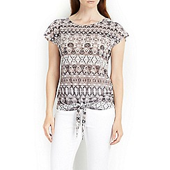 Wallis - Grey printed tie front top