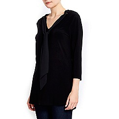 Wallis - Black tie collar top