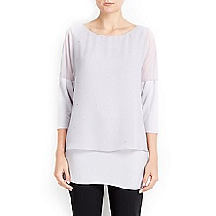 Wallis - Grey embellished overlay top