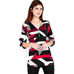 Wallis - Teal geometric print shirt